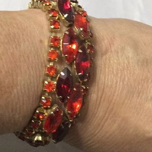 Jewelry - Vintage Red & Orange Glass & Rhinestone Bracelet